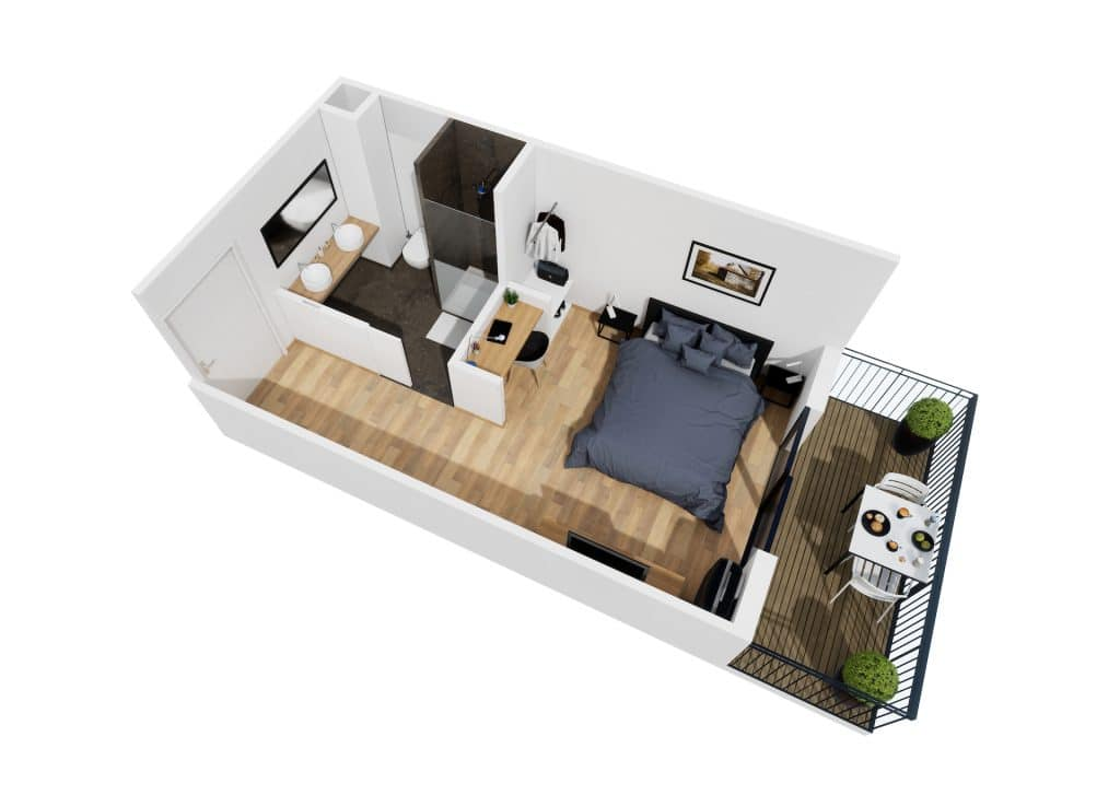 Studio neuf avec terrasse