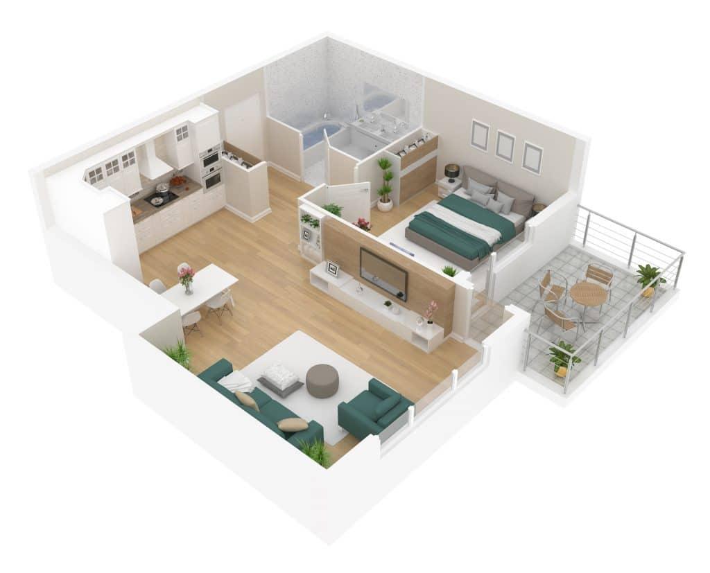 Plan appartement neuf T2 avec terrasse